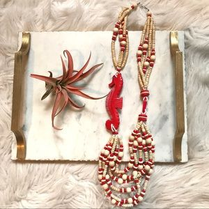 Tropical Vintage Wood Bead Seahorse Necklace